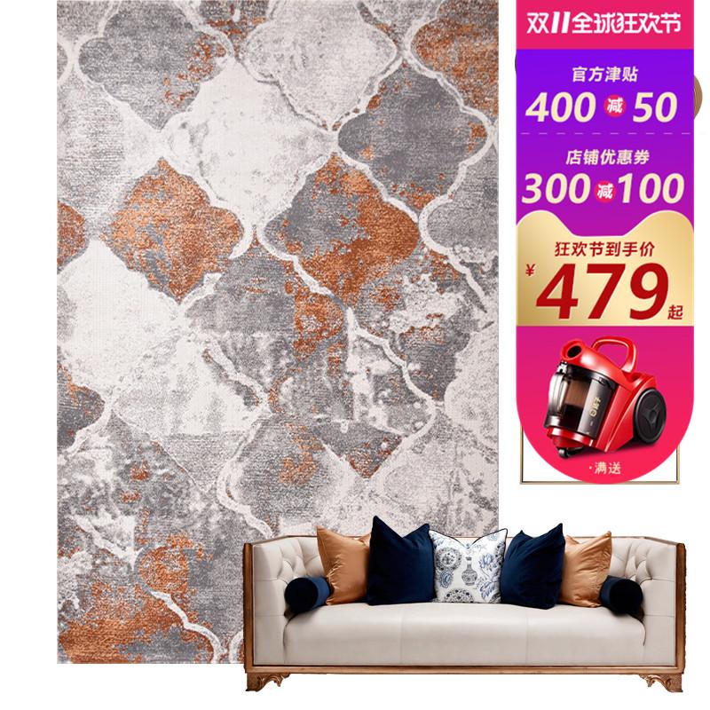 现代简约美式轻奢复古橙色抽象后现代简欧北欧客厅卧室床边地毯