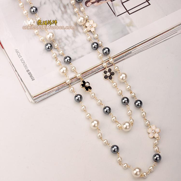 长款韩版多层珍珠毛衣挂件装饰链满29.90元可用4.1元优惠券