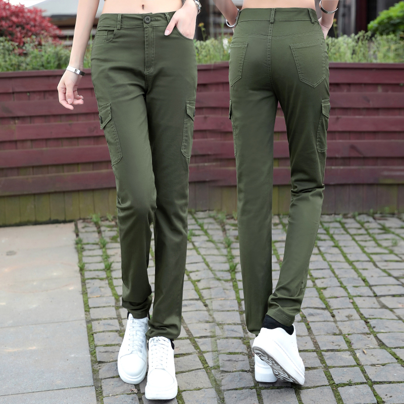 Spring and autumn new cotton casual pants womens outdoor sports Multi Pocket overalls straight pants Korean version show slim pants