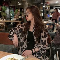 复古港味豹纹衬衫女夏季2020新款韩版宽松长袖上衣外搭薄款防晒衫