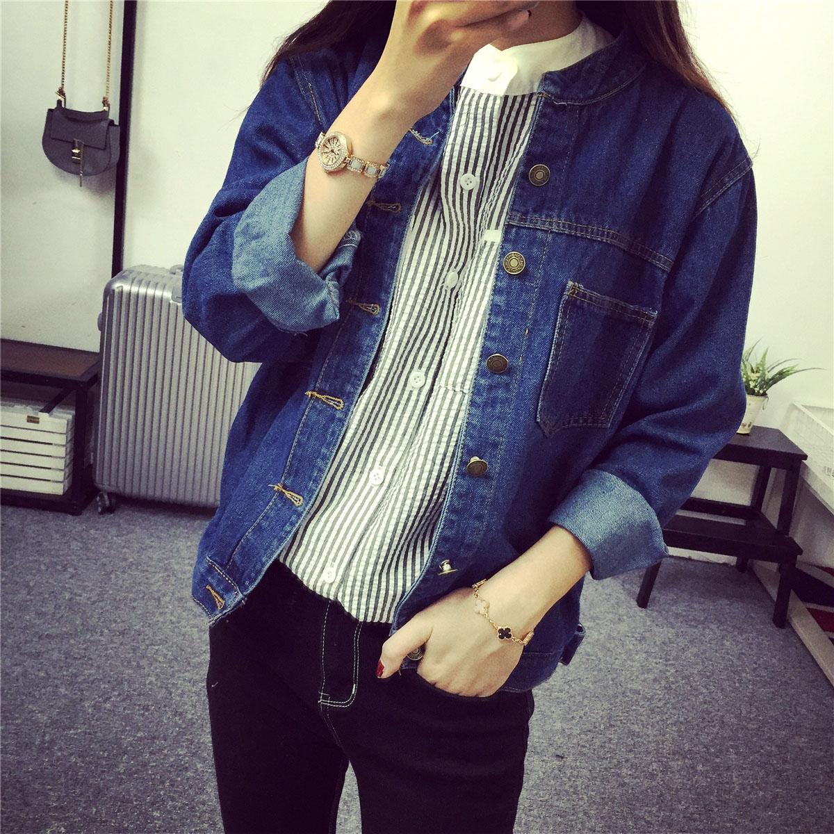 Тао Тао Весна одежда * 2016 новый простой и универсальный воротник карман случайные длинный рукав джинсовой ткани куртка для девочек