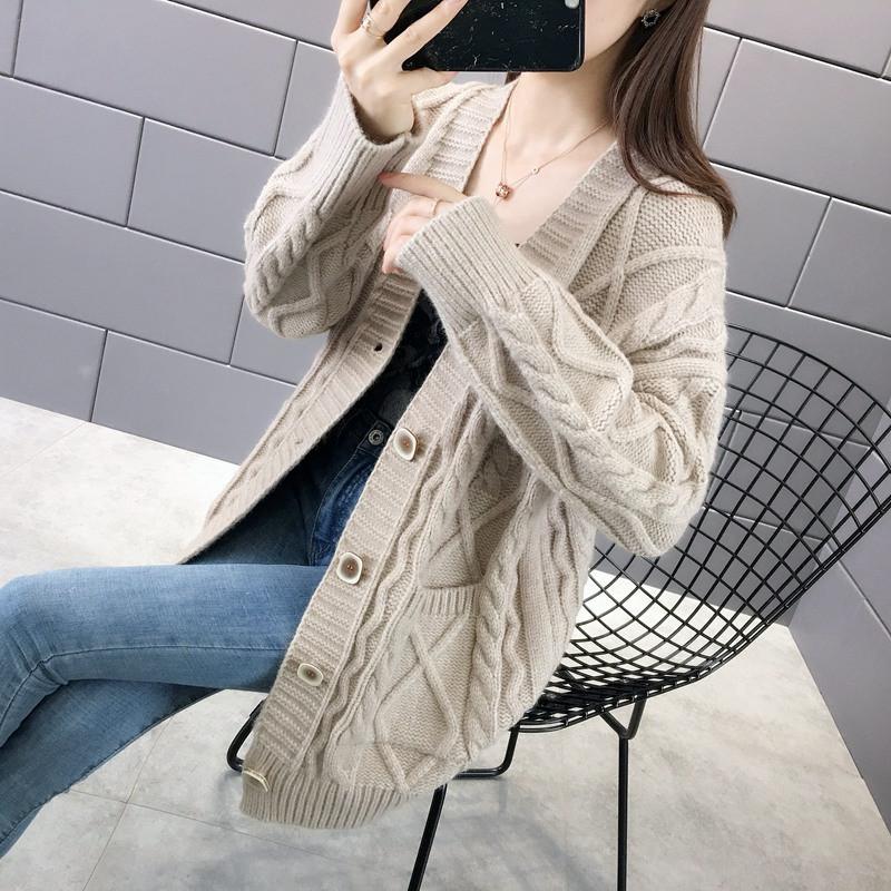 春装2020新款毛衣开衫韩版宽松中长款女士针织衫外套女春秋款女图片