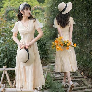 法式初戀裙子仙女超仙長裙及腳踝仙氣森系學生復古雪紡碎花連衣裙