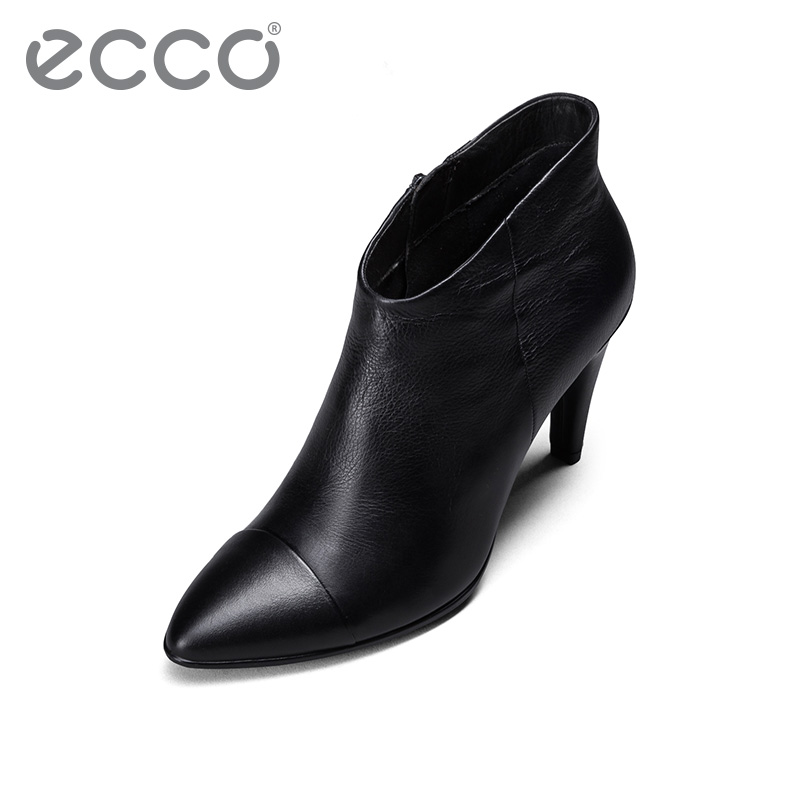 Ecco love step pointed soft leather high heels women's black thin heels short boots cow leather zipper women's boot model 269583