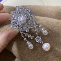 天然珍珠胸针奢华夸张女神款胸饰大衣别针饰品