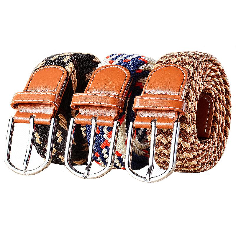 Elastic waistband womens canvas knitting belt knitting needle buckle leisure elastic fashion versatile belt boy student trend