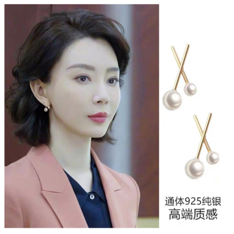 Sterling Silver Earrings Korea exquisite high sense silver needle earring net red fashion temperament versatile pearl jewelry spot