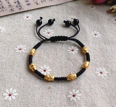 韩版24K保色镀金转运珠手链礼物情侣手串玛瑙珠红绳黑绳编织男 女