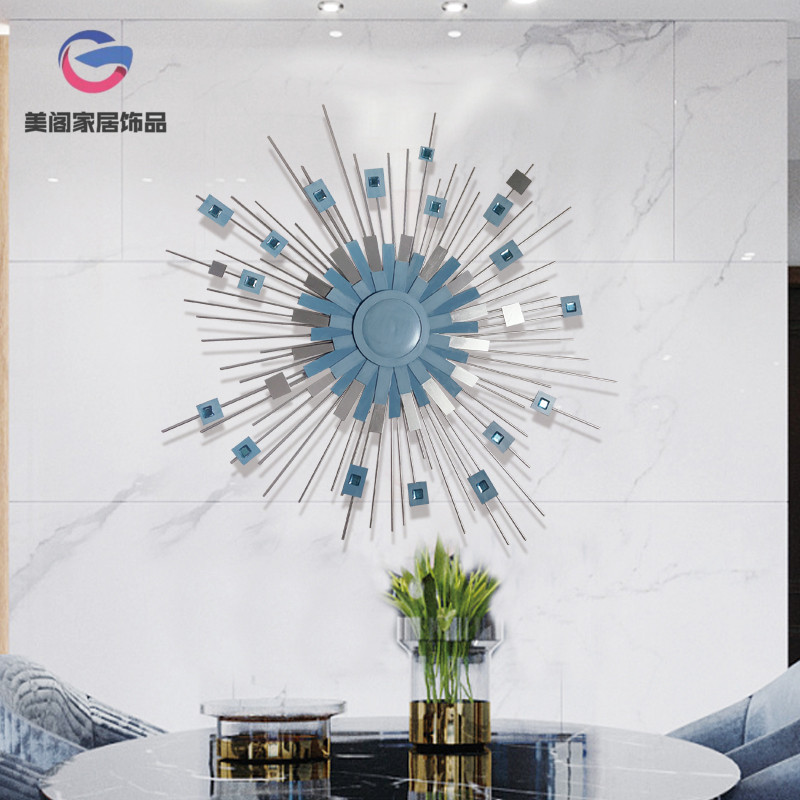 Modern sun mirror iron wall hanging living room wall industrial wind decoration Nordic restaurant porch wall Pendant