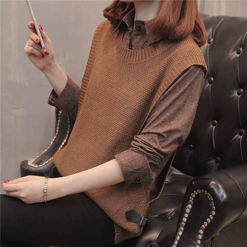 春装女2020新款衬衣毛衣外套女韩版宽松短款假两件套秋冬上衣女潮