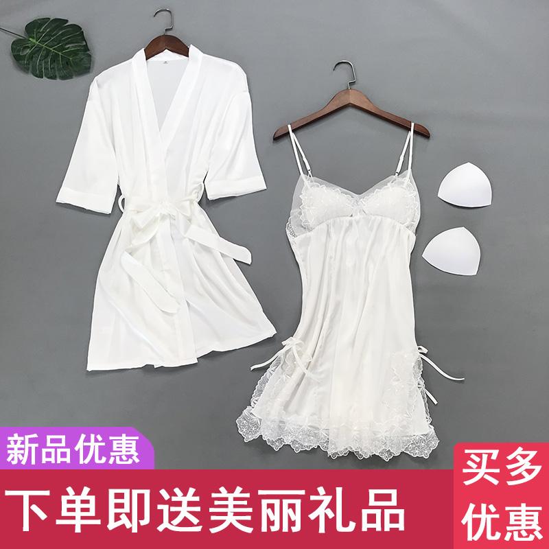 性感睡衣女蕾丝夏天白色套装镂空吊带两件套冰丝诱惑胸垫薄款睡裙