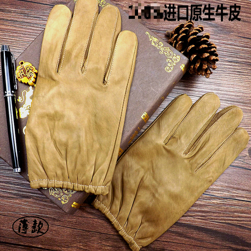 New leather gloves mens autumn and winter warm calfskin drivers gloves riding repair short gloves thin