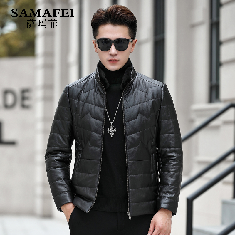 Haining leather jacket male youth leather down Motorcycle Jacket Coat mink hair stand collar short style winter thickening