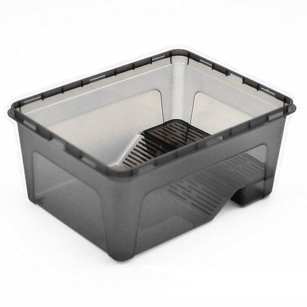 【萍子】晒台乌龟缸水龟饲养盒巴西龟草龟育苗盆饲养箱透明水陆缸