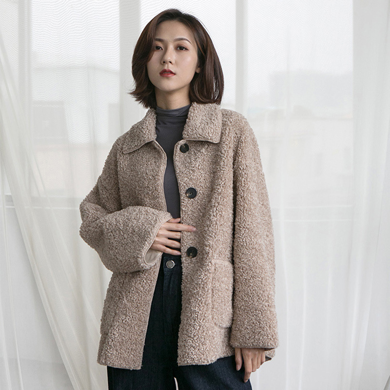 Fur in one lamb Plush coat womens autumn winter 2020 new loose and thickened jacket Korean version short size