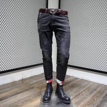 牛仔裤男2019秋季新款青中年男士直筒潮流百搭休闲男装裤子小脚裤