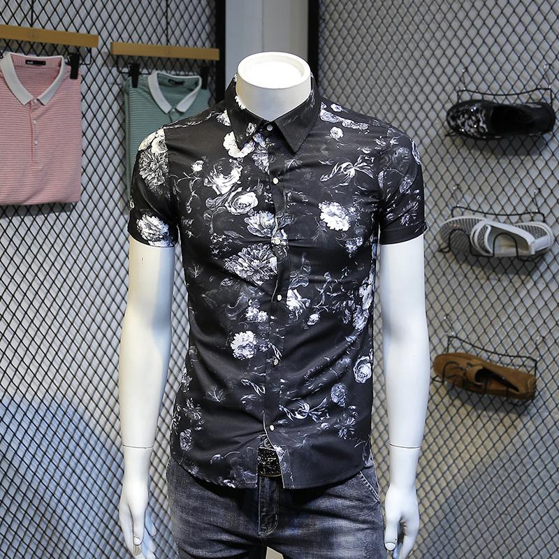 夏季新品潮流帅气修身男青年短袖衬衫碎花图案大码M-5XL男士衬衫
