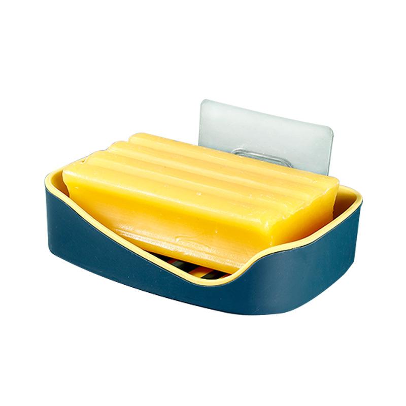 创意双层不卡手浴室置物架吸壁式香皂盒 无痕粘贴沥水皂盒