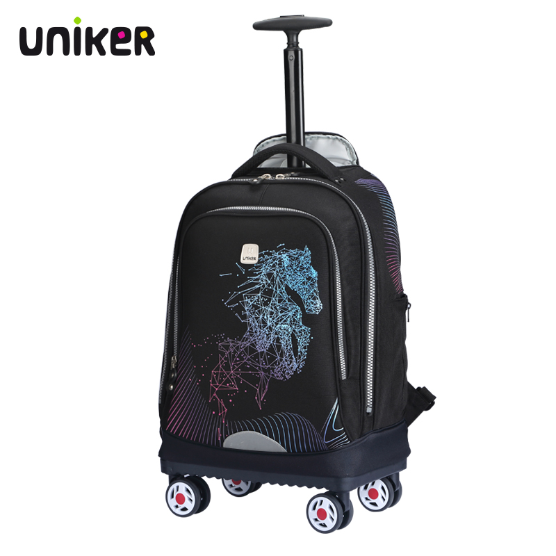Uniker pull-rod schoolbag for male high school students shoulder schoolbag for female travelling backpack Cardan wheel large capacity suitcase