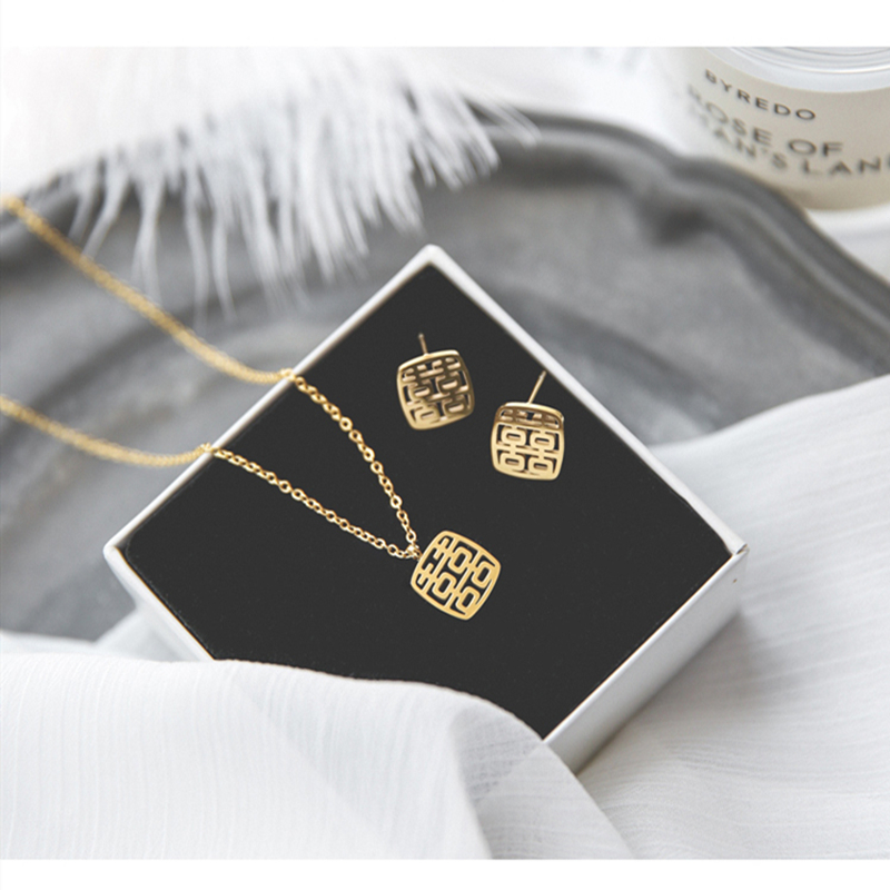 Star double happiness in front of the door Chinese style gold happy word Necklace design creativity wedding engagement clavicle chain