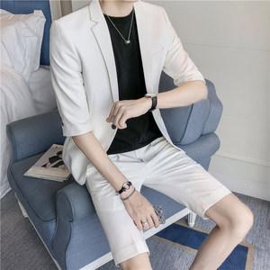 夏季薄款男士中袖西服五分裤套装青年韩版修身短袖短裤西装两件套