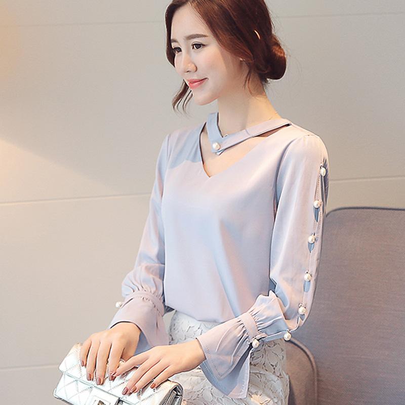 Рубашки шифон женщин 2017 весной новой корейской версии v-образным вырезом свободные шифоновые рубашки в конце горн рукава блузки топ прилив