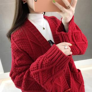 春秋装2019新款女装红色慵懒风韩版宽松加厚粗棒针织开衫毛衣外套