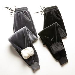 金丝绒裤子女秋冬棉裤加绒加厚羊羔绒运动裤女休闲宽松外穿哈伦裤