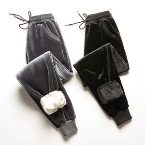 领5元券购买金丝绒裤子秋冬加绒羊羔绒运动裤