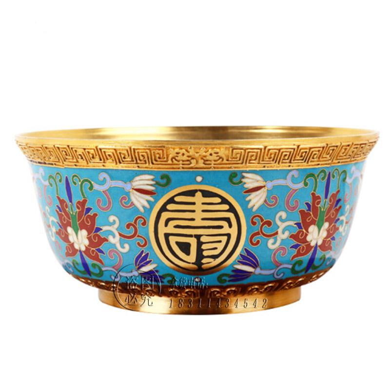 老北京特色手工艺品景泰蓝金碗福禄寿喜贺寿祝寿礼物商务外事礼品