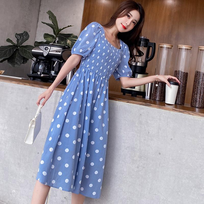 High waist Polka point dress women French sweet blue dress 2020 summer new style square neck gentle style skirt