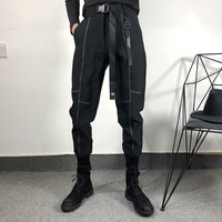 秋冬原创嘻哈潮牌设计师宽松工装运动束脚裤街头风拼接弹力卫裤男
