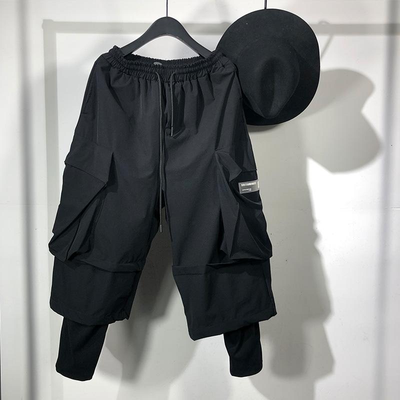 原创春秋暗黑个性男士假两件运动哈伦裤街头风潮牌嘻哈工装机能裤