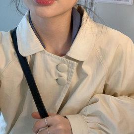 MINGBO 日式娃娃领 曼妥思包扣风衣灯笼袖可爱小蓬蓬廓形宽松外套