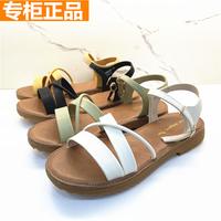 查看红蜻蜓真皮女鞋正品2021新款牛皮软底平跟舒适防滑凉鞋K25205031价格