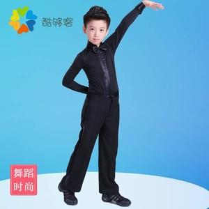 儿童拉丁舞裤男童新款比赛练习裤子男国标舞口袋裤高腰练功舞蹈9