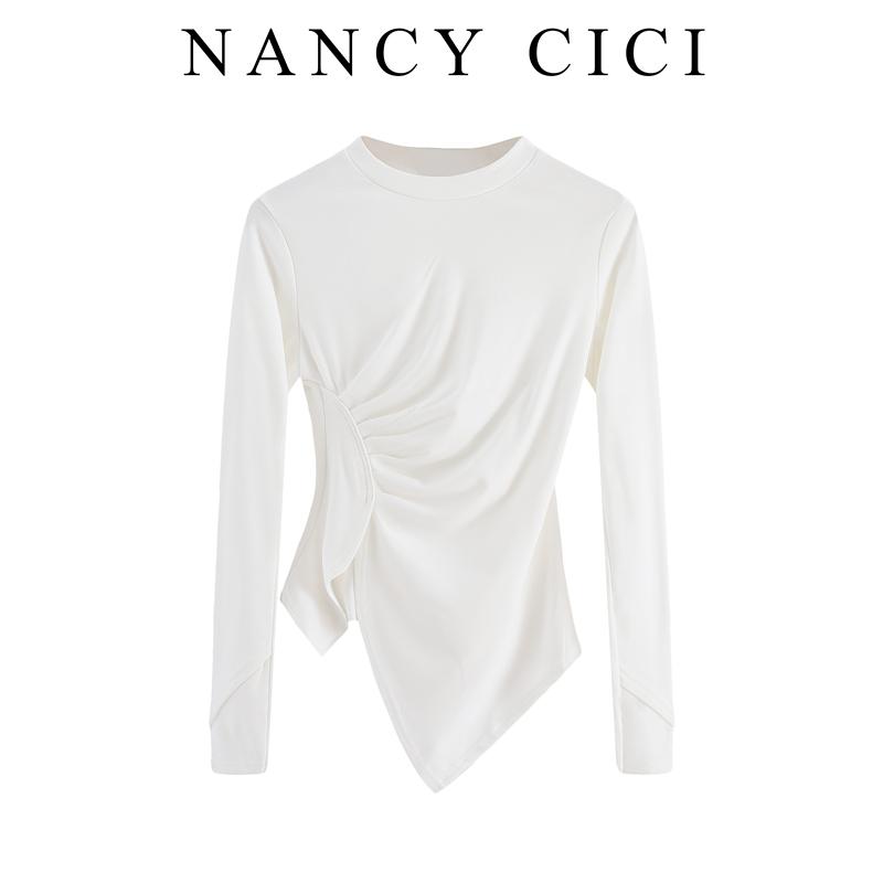 长袖纯色t恤圆领打底衫女内搭春装洋气百搭紧身不规则心机上衣潮