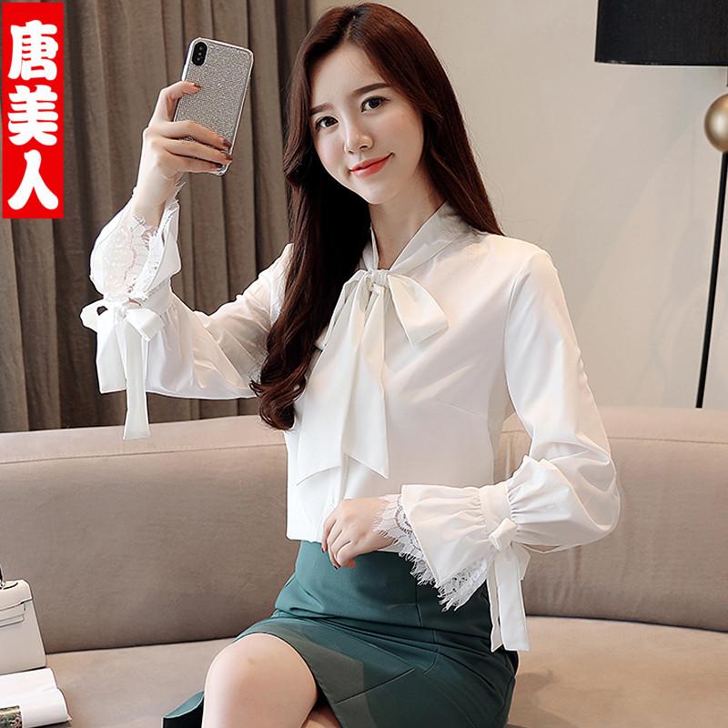 热销51件限时秒杀白衬衫女2019春装新款蝴蝶结雪纺衫