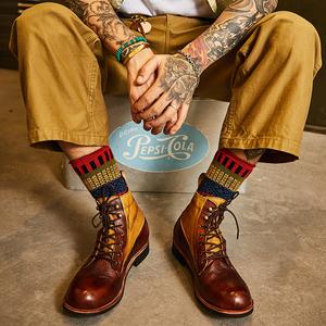 阿美咔叽复古英伦风真皮手工装短靴