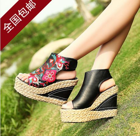 2021 summer new national style embroidered shoes womens slope heel fish mouth high heels leather thick bottom straw sandals open toe