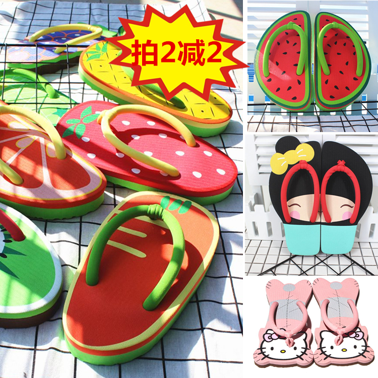 Slipper female Xia lovely cartoon thick bottom antiskid indoor and outdoor clip foot cool slipper creative personality fruit KT flip flop