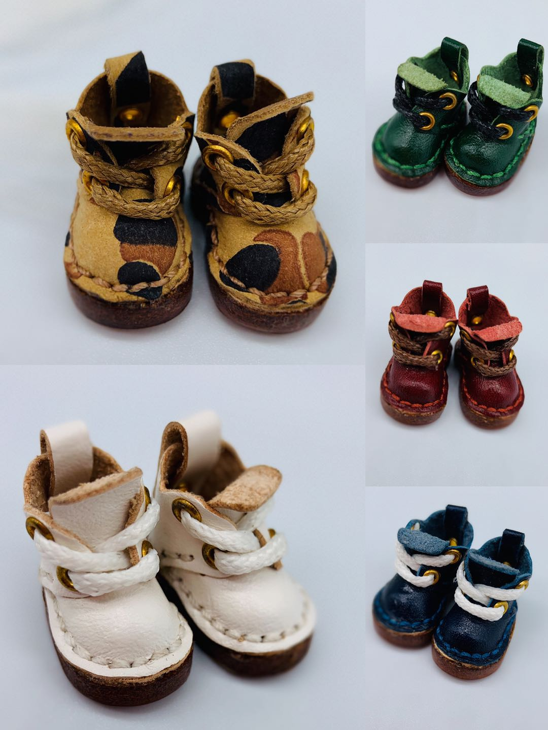 Ob11 shoes BJD shoes vegetable tanned leather cattle leather boots DDF GSC baby leather pure hand-made shoes