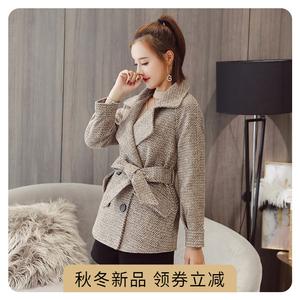 2021冬季新品韩版淑女装时尚加厚毛呢外套修身显瘦中长款保暖大衣