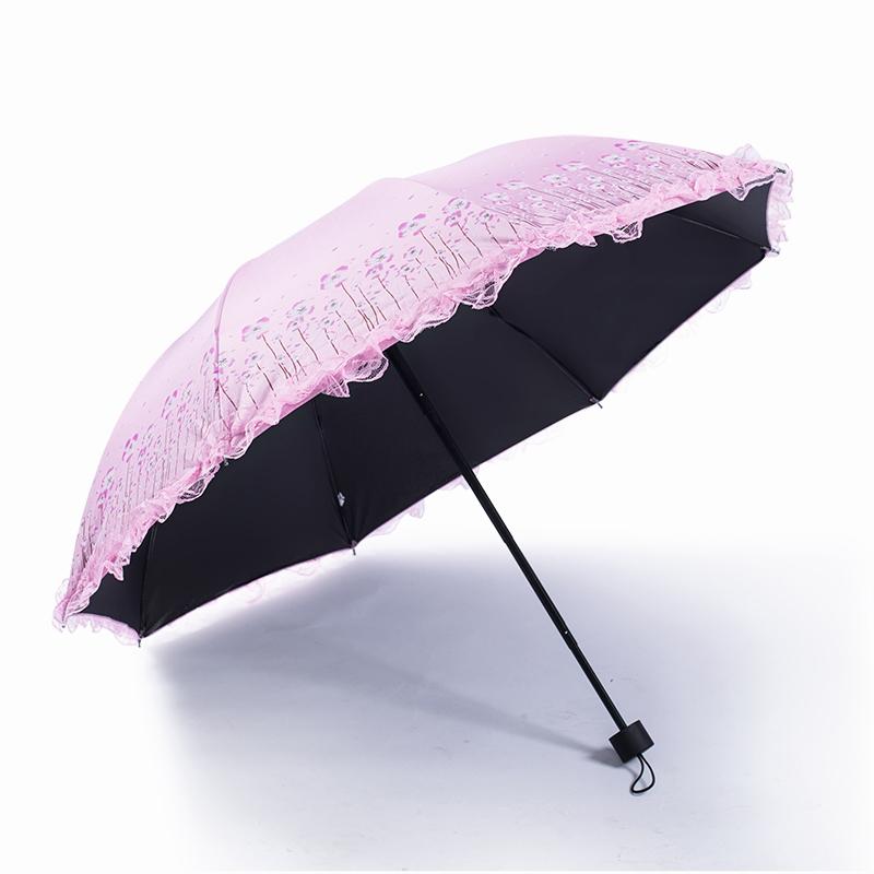 蕾丝太阳伞女遮阳防晒防紫外线韩版女神晴雨两用小清新折叠花边伞