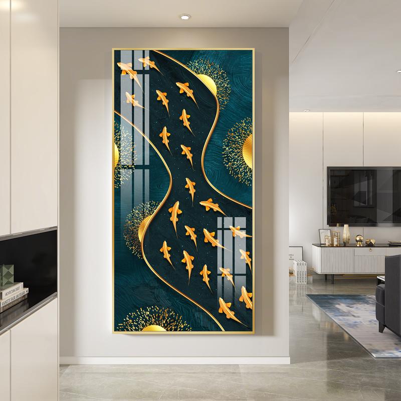 晶瓷画玄关过道新中式竖版抽象挂画