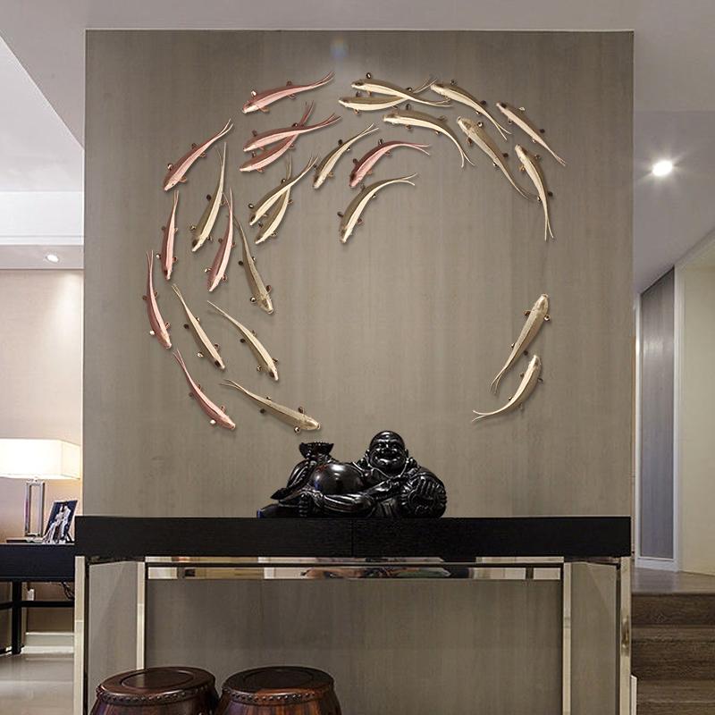 墙面装饰墙壁挂件鱼轻奢客厅背景墙创意墙饰壁挂餐厅立体墙上挂饰