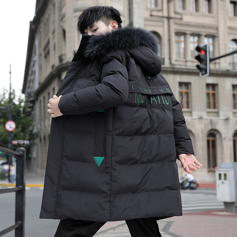 Youth warm cotton padded jacket middle and long hooded hairline jacket for male students
