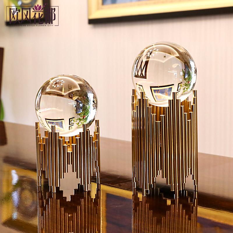 (用497元券)北欧轻奢水晶球摆件现代创意样板房客厅玄关酒柜书柜家居软装饰品