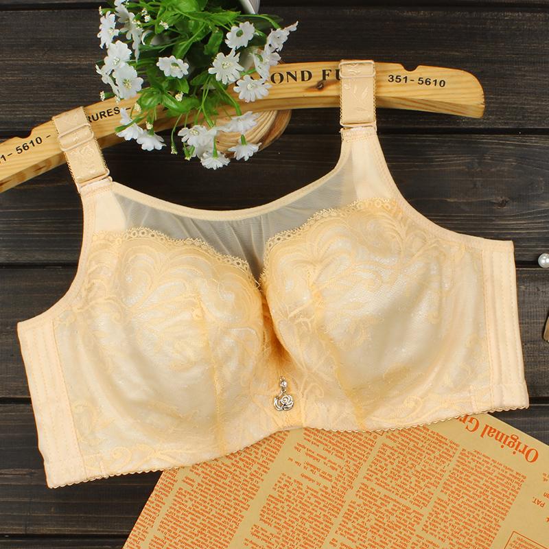 女士内衣文胸有钢圈无海绵薄款胖mm防下垂透气大码C胸罩大胸显小