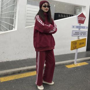 2020春秋韓版ins原宿風bf寬鬆休閒褲衞衣運動套裝兩件套女學生潮